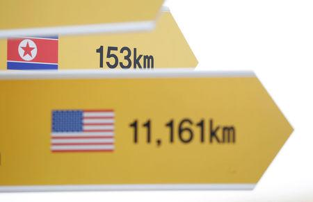 Directional signs bearing North Korean and U.S. flags are seen near the demilitarized zone separating the two Koreas in Paju