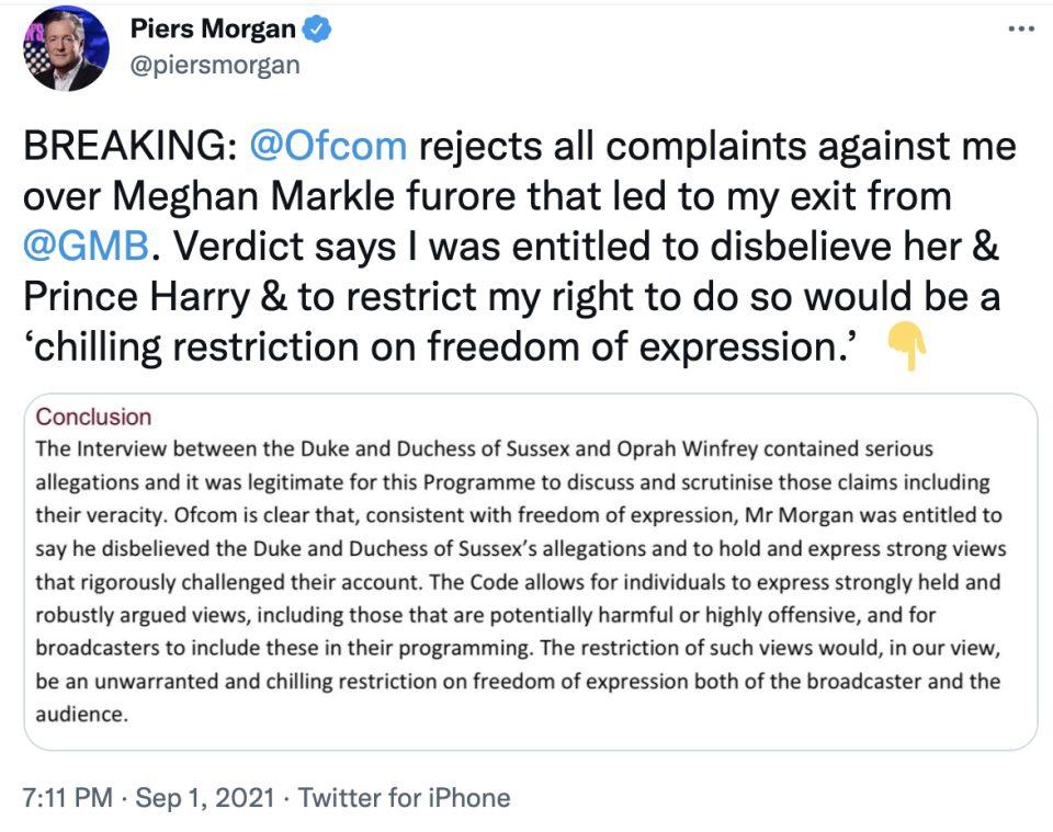 Piers Morgan's tweet about Meghan Markle and Ofcom's ruling. Photo: Twitter/piersmorgan.