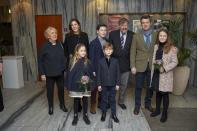 <p>December 2018: Mary, Frederick and their four children joined Mary's dad John Donaldson and step-mum Susan Moody for Christmas festivities. Photo: Mega.</p>