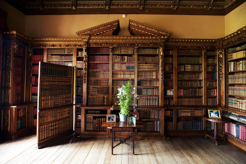 """<div class=""""inline-image__caption""""><p>A detail of the library showing a hidden door to the music room in Highclere Castle.</p></div> <div class=""""inline-image__credit"""">Matthew Lloyd</div>"""