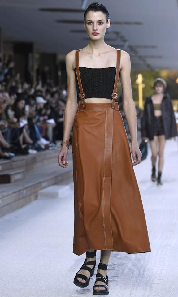 A model presents a creation by Hermes during the Spring-Summer 2019 Ready-to-Wear collection fashion show in Paris, on September 29, 2018