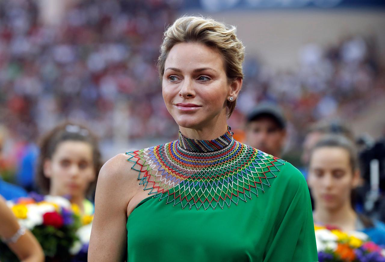 Athletics - IAAF Diamond League Herculis meeting - Louis II Stadium, Monaco - July 21, 2017. Princess Charlene of Monaco attends Herculis meeting     REUTERS/Eric Gaillard