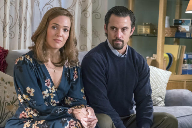 <p>Mandy Moore as Rebecca and Milo Ventimiglia as Jack in NBC's <i>This Is Us</i>.<br> (Photo: Ron Batzdorff/NBC) </p>