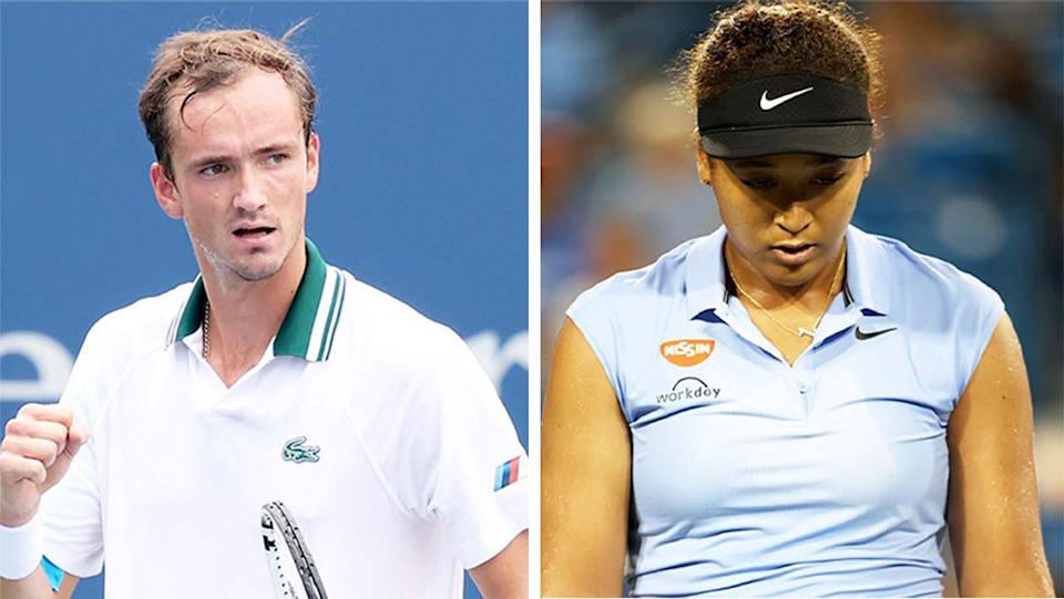 Daniil Medvedev (pictured left) celebrating at the Cincinnati Open and Naomi Osaka (pictured right) looking defeated.