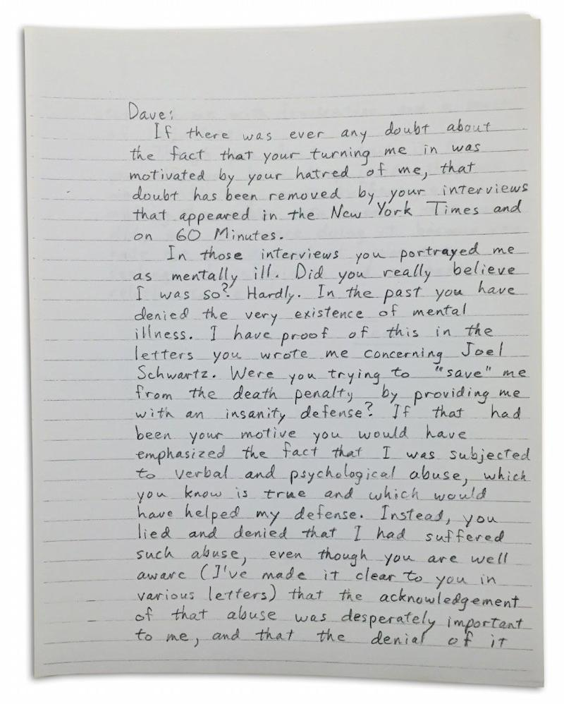 In this letter, Kaczynski addressed the issue of David speaking with media about his convictions. Photo: Yahoo US