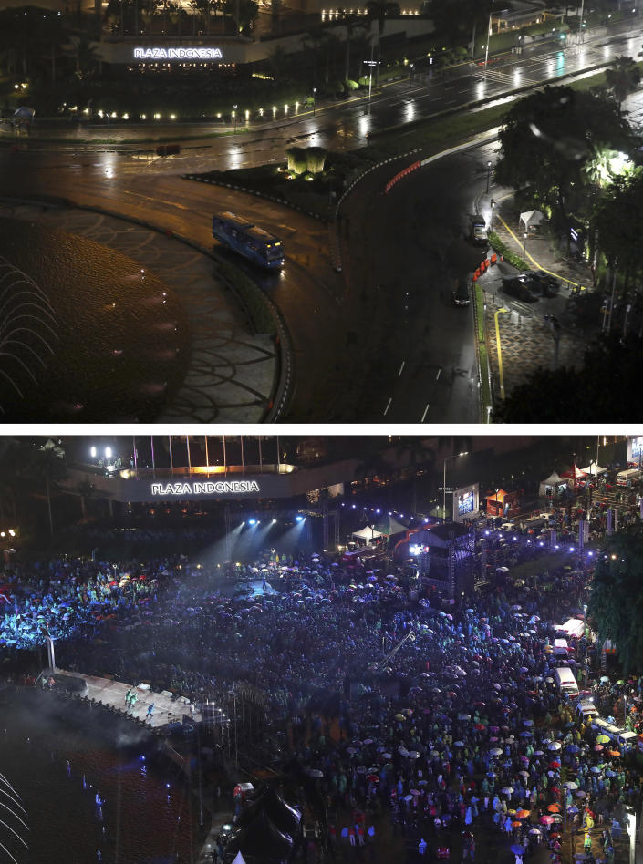 This combo image shows the Hotel Indonesia Roundabout in Jakarta, a popular spot for New Year's Eve celebration, taken on Thursday, Dec. 31, 2020, top photo, and Tuesday, Dec. 31, 2019, bottom photo. As the world says goodbye to 2020, there will be countdowns and live performances, but no massed jubilant crowds in traditional gathering spots like the Champs Elysees in Paris and New York City's Times Square this New Year's Eve. The virus that ruined 2020 has led to cancelations of most fireworks displays and public events in favor of made-for-TV-only moments in party spots like London and Rio de Janeiro. (AP Photo/Dita Alangkara, Tatan Syuflana)