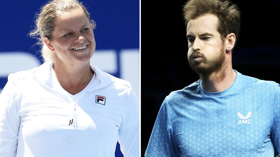 Kim Clijsters and Andy Murray, pictured here in action on the tennis court.