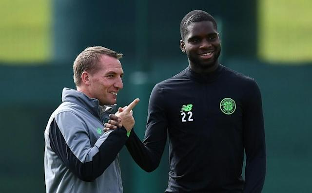 Substitute Odsonne Edouard (R) came on to score the winner for 10-man Celtic 21 minutes from time to open up a nine-point lead over Rangers