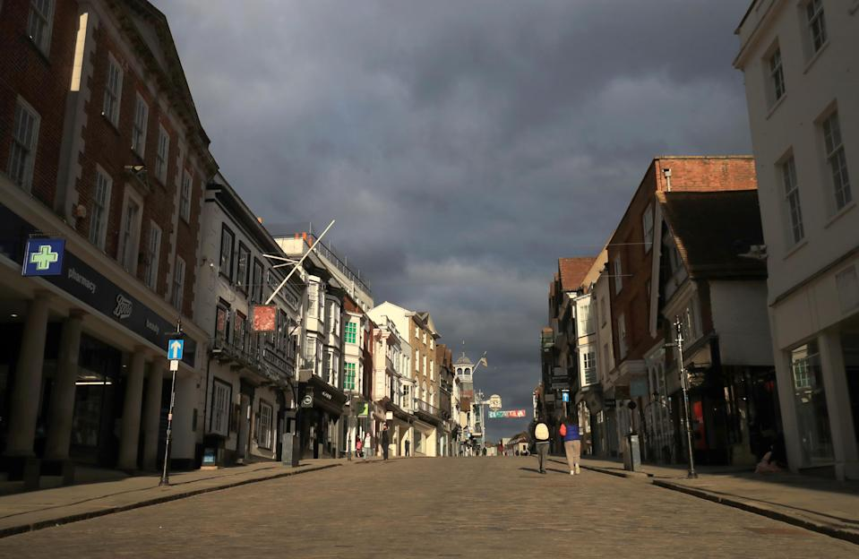 A quiet high street in Guildford during England's third national lockdown to curb the spread of coronavirus. Photo: Adam Davy/PA via Getty Images