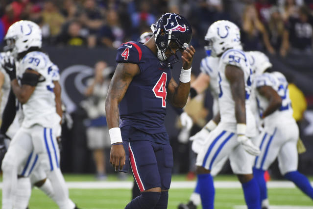 "A late Deshaun Watson fumble at a critical moment led to confusion on ""Thursday Night Football."" (AP Photo/Eric Christian Smith)"