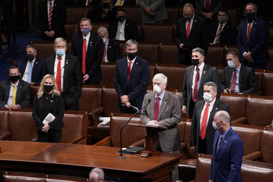 Rep. Mo Brooks, R-Ala., objects to confirming the Electoral College votes from Nevada during a joint session of the House and Senate early Thursday, Jan 7, 2021, in Washington. (AP/Andrew Harnik)