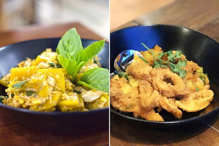 'Fuk-tong pad khai' (stir-fried pumpkin with salted egg and crab meat) and Thai salted egg squid.