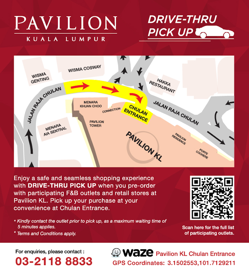 Make your way to Pavilion KL's Chulan Entrance to access the drive-thru pick-up point. — Picture courtesy of Pavilion KL