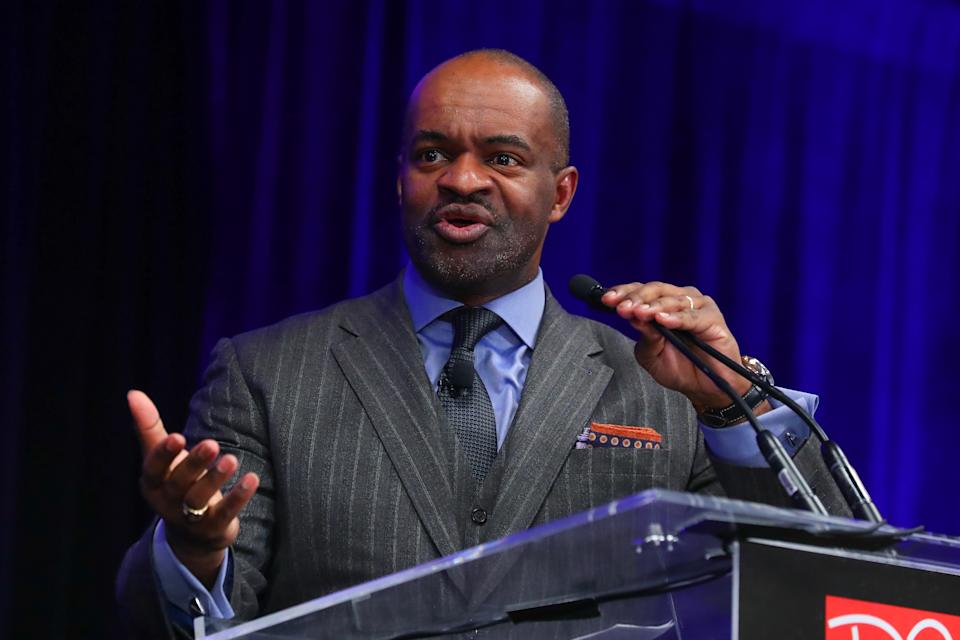 ATLANTA, GA - JANUARY 31:  DeMaurice Smith  the Executive Director of the National Football League Players' Association (NFLPA) speaks during the NFLPA Press Conference on January 31, 2019 at the Georgia World Congress Center in Atlanta, GA.  (Photo by Rich Graessle/Icon Sportswire via Getty Images)