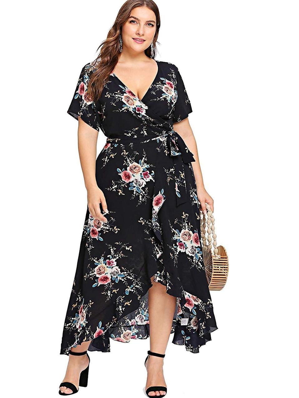 "<p>This <a href=""https://www.popsugar.com/buy/Milumia-Wrap-V-Neck-Dress-543799?p_name=Milumia%20Wrap%20V-Neck%20Dress&retailer=amazon.com&pid=543799&price=36&evar1=fab%3Aus&evar9=44662359&evar98=https%3A%2F%2Fwww.popsugar.com%2Ffashion%2Fphoto-gallery%2F44662359%2Fimage%2F47293562%2FMilumia-Wrap-V-Neck-Dress&list1=shopping%2Camazon%2Cdresses%2Cspring%2Cflorals%2Cspring%20fashion&prop13=mobile&pdata=1"" class=""link rapid-noclick-resp"" rel=""nofollow noopener"" target=""_blank"" data-ylk=""slk:Milumia Wrap V-Neck Dress"">Milumia Wrap V-Neck Dress</a> ($36) will be great for Spring. It's also the perfect wedding-guest dress.</p>"