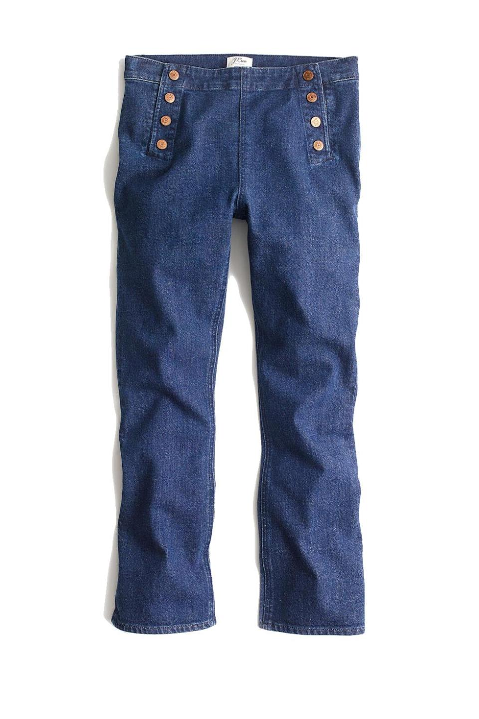 """<p>Sailor-inspired trousers to go with your Breton shirt and brimmed hat, you seafaring wannabe. </p><p><strong>BUY IT:</strong> J.Crew, $60; <a href=""""https://www.jcrew.com/p/G2320"""" rel=""""nofollow noopener"""" target=""""_blank"""" data-ylk=""""slk:jcrew.com"""" class=""""link rapid-noclick-resp"""">jcrew.com</a>.</p>"""