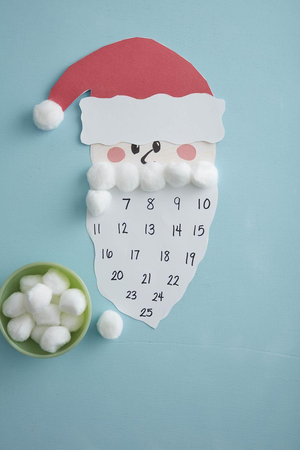 "<p>The kids will love helping Santa's beard grow with fluffy cotton balls. By the 25th he will have the full monty! <br></p><p><strong>To make:</strong> Cut Santa's face from white craft paper. Add texture with colored pencil. Cut pink cheeks, eyes, and nose from construction paper; glue to the face. Cut the hat from red and white craft paper; glue to the face. Glue a large cotton ball at the point of the hat. Cut a long beard shape from white craft paper. Write the dates of the month leading up to Christmas on the beard. Hang the calendar and set a bowl of cotton balls and a bottle of glue nearby.</p><p><a class=""link rapid-noclick-resp"" href=""https://www.amazon.com/Crayola-Colored-Pre-sharpened-Coloring-Stocking/dp/B018HB2QFU/ref=sr_1_2_sspa?tag=syn-yahoo-20&ascsubtag=%5Bartid%7C10050.g.5030%5Bsrc%7Cyahoo-us"" rel=""nofollow noopener"" target=""_blank"" data-ylk=""slk:SHOP COLORED PENCILS"">SHOP COLORED PENCILS</a></p>"