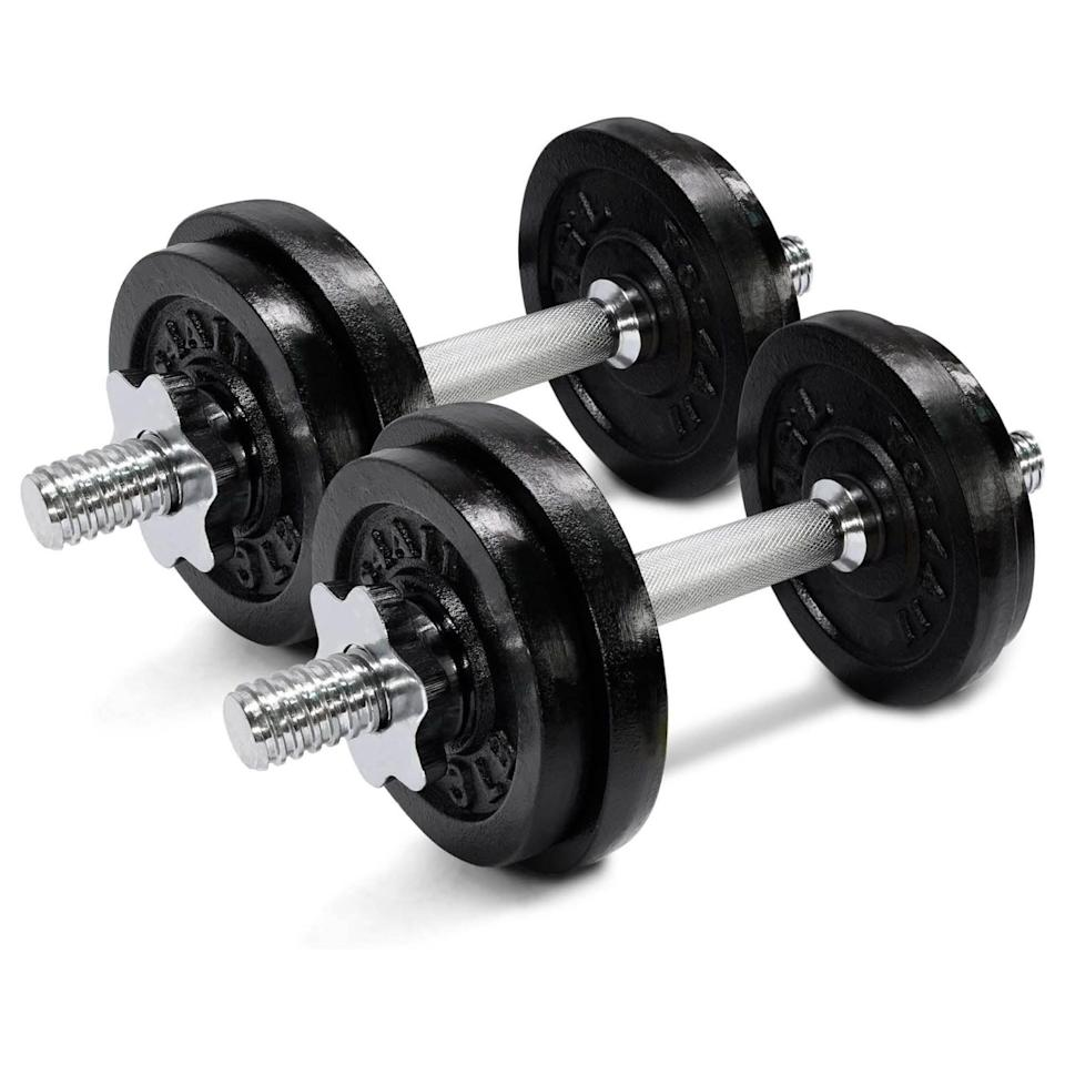 """<p><strong>Yes4All</strong></p><p>amazon.com</p><p><strong>$48.71</strong></p><p><a href=""""https://www.amazon.com/dp/B07235H4JQ?tag=syn-yahoo-20&ascsubtag=%5Bartid%7C2142.g.36483327%5Bsrc%7Cyahoo-us"""" rel=""""nofollow noopener"""" target=""""_blank"""" data-ylk=""""slk:Buy Now"""" class=""""link rapid-noclick-resp"""">Buy Now</a></p><p>For those sticking to a budget, don't adjust weights much in the same workout, and you don't need dumbbells over 25 pounds each, this economical set of cast-iron weights might work well. Similar to an actual barbell, you'll have to physically add plates (three- and 7.5-pound options included), and then screw a lock on the ends to hold the weights in place. We've used these in apartment building gyms, and they work well—they just take a little more time to set up. The textured chrome handle allows a confident grip that won't slip mid-lift.</p>"""