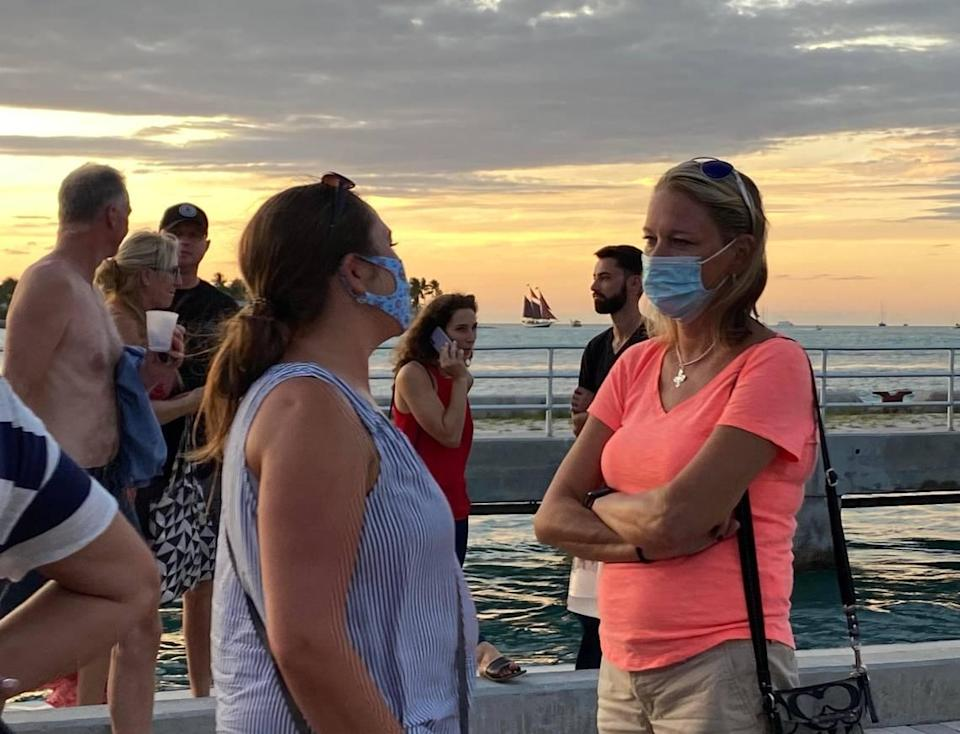 On Oct. 16, 2020, at Mallory Square in Key West, some wore masks outside while others didn't.
