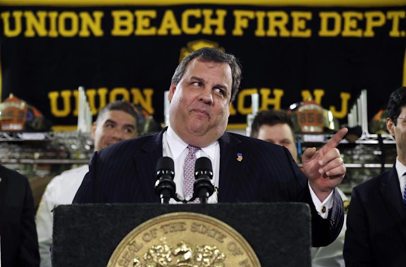 "New Jersey Gov. Chris Christie feigns a stern look Tuesday, Feb. 5, 2013, in Union Beach, N.J., after his was playfully asked about his weight. Christie has termed his plumpness ""fair game"" for comedians. And during his first appearance on ""Late Show with David Letterman"" on Monday, the outspoken Republican and potential 2016 presidential contender read two of Letterman's jokes that he said were ""some of my personal favorites."" (AP Photo/Mel Evans)"