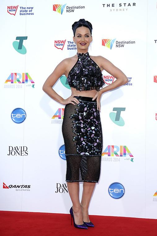 <p><b>Katy Perry</b> The quirky American pop star is currently in town performing on her Prismatic world tour and took a moment to grace the ARIAs red carpet. Katy Cats represent.</p>