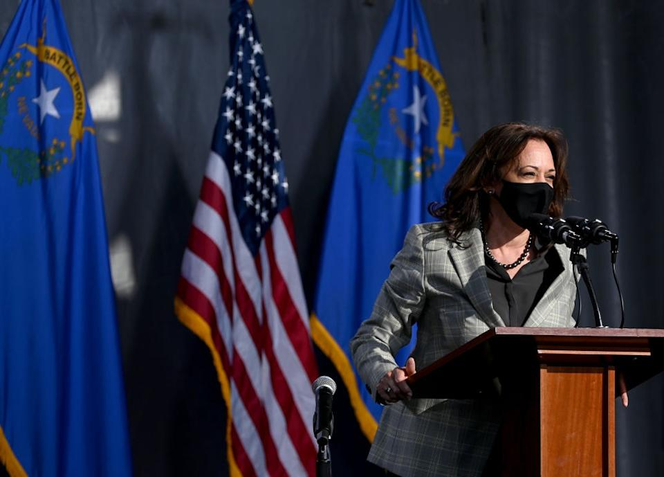 Democratic U.S. Vice Presidential nominee Sen. Kamala Harris (D-CA) speaks during a voter mobilization drive-in event at UNLV on October 2, 2020 in Las Vegas, Nevada. Harris is campaigning ahead of the October 7 debate against U.S. Vice President Mike Pence in Salt Lake City, Utah. (Photo by Ethan Miller/Getty Images)