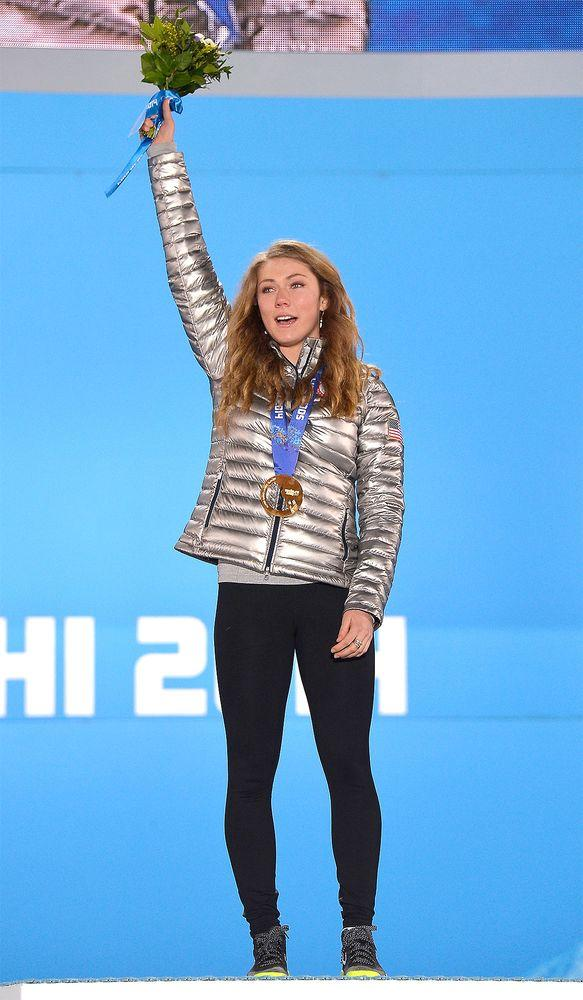 Mikaela Shiffrin after her gold medal win at the 2014 Winter Olympics