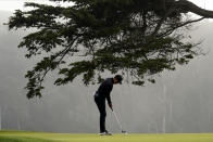 Cameron Champ putts on the 16th hole during the third round of the PGA Championship golf tournament at TPC Harding Park Saturday, Aug. 8, 2020, in San Francisco. (AP Photo/Jeff Chiu)