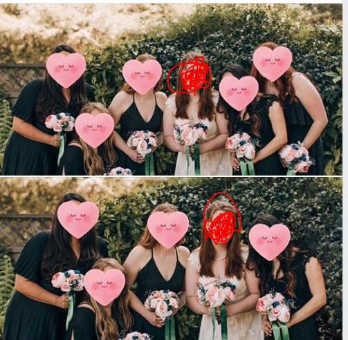 A bride has explained why she Photoshopped one of her bridesmaids (far right in top picture, face obscured) out of her wedding photos. Photo: Facebook