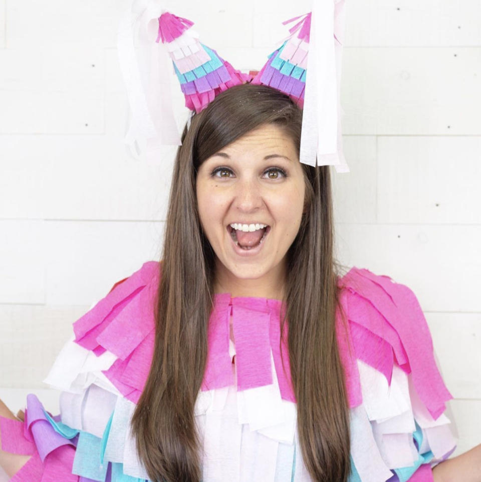 """<p>It's easy to turn yourself into this classic party game—just arrange strips of crepe paper in layers on a white shirt. Finish the look with two party hats decorated the same way. </p><p><a class=""""link rapid-noclick-resp"""" href=""""https://www.instagram.com/p/B_0J9MBpbIh/"""" rel=""""nofollow noopener"""" target=""""_blank"""" data-ylk=""""slk:SEE MORE"""">SEE MORE</a></p><p><a class=""""link rapid-noclick-resp"""" href=""""https://www.amazon.com/Lumuasky-Streamer-Decorations-Birthday-Festivals/dp/B089LNSBDN/?tag=syn-yahoo-20&ascsubtag=%5Bartid%7C10072.g.33547559%5Bsrc%7Cyahoo-us"""" rel=""""nofollow noopener"""" target=""""_blank"""" data-ylk=""""slk:SHOP CREPE PAPER"""">SHOP CREPE PAPER</a></p>"""