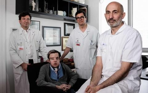 The French medical team and Jerome Hanon at the Hopital Europeen Georges-Pompidou in Paris - Credit: Philippe Lopez/AFP