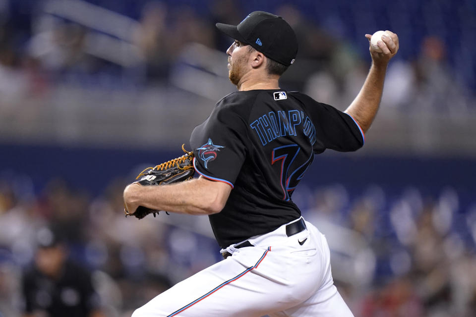 Miami Marlins starting pitcher Zach Thompson throws during the first inning of the team's baseball game against the San Diego Padres, Friday, July 23, 2021, in Miami. (AP Photo/Lynne Sladky)