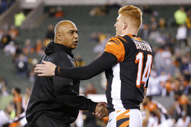 "Marvin Lewis and <a class=""link rapid-noclick-resp"" href=""/nfl/players/24822/"" data-ylk=""slk:Andy Dalton"">Andy Dalton</a> went 7-9 with the <a class=""link rapid-noclick-resp"" href=""/nfl/teams/cin"" data-ylk=""slk:Cincinnati Bengals"">Cincinnati Bengals</a> last season. (AP)"