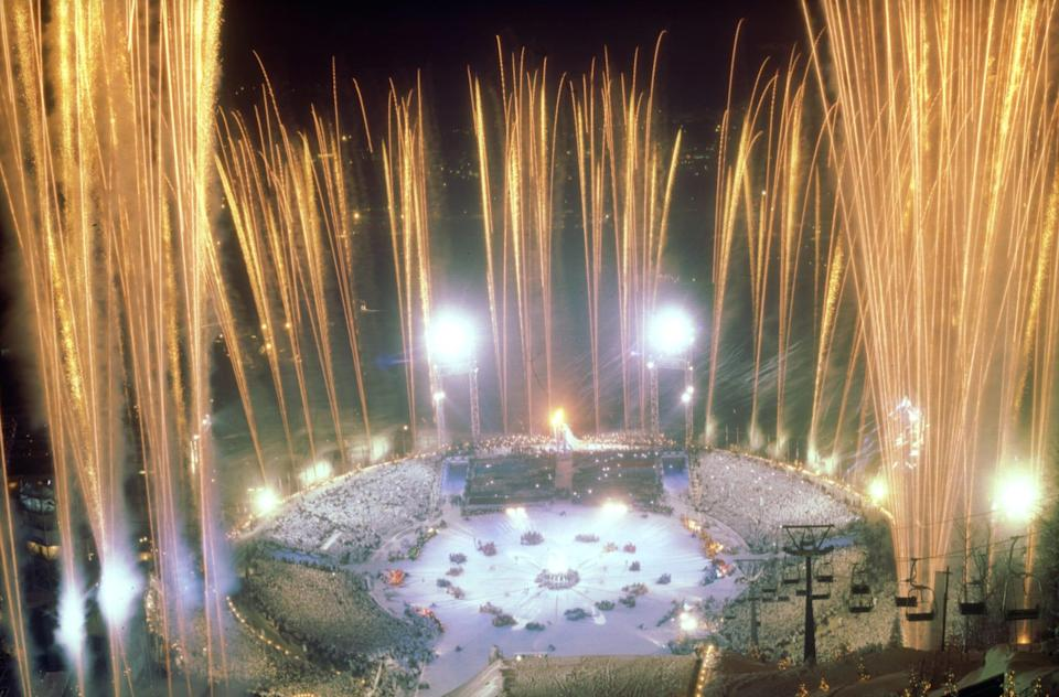 Fireworks explode during the opening ceremony at the 1994 Winter Olympics in Lillehammer, Norway on Feb. 12, 1994.