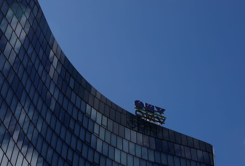 The logo of Austrian oil and gas group OMV is pictured at the rooftop of its headquarters in Vienna