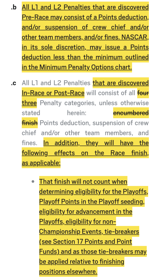 (screenshot of NASCAR rulebook)