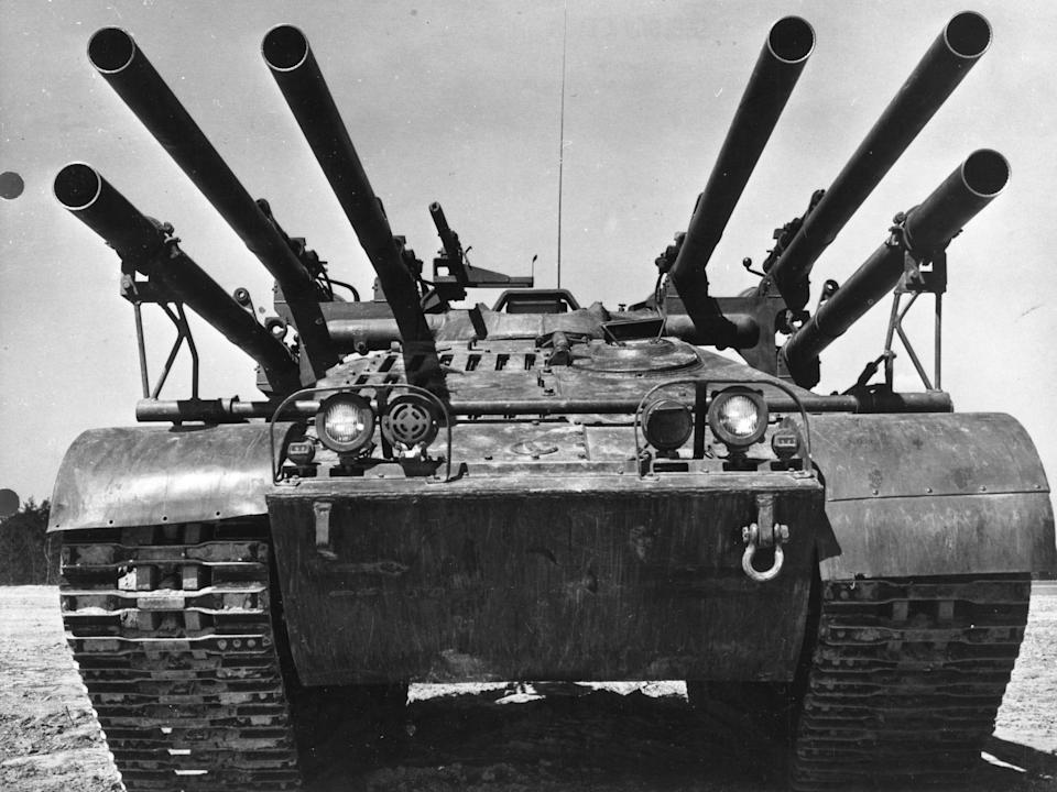 An M50 Ontos a light-armored anti-tank vehicle with recoilless rifles
