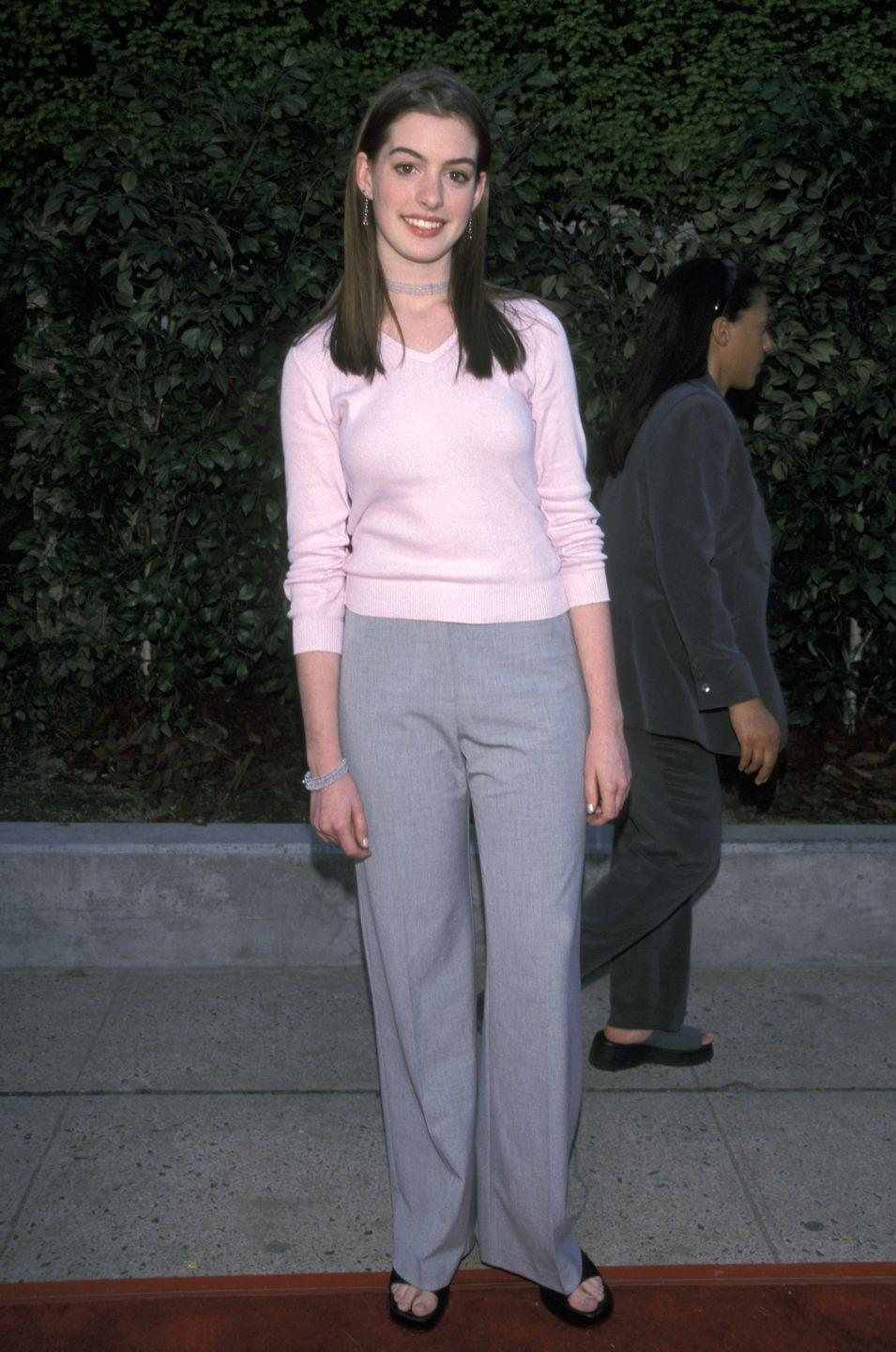 <p>Future-Academy Award winner Anne Hathaway looks cool, calm, and collected on her first red carpet at a FOX TV up front party at Lincoln Center in New York City. </p>
