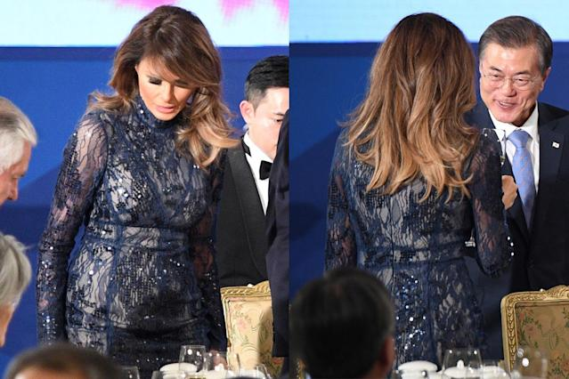 Melania Trump in a sequined gown by J. Mendel. (Photo: Getty Images)
