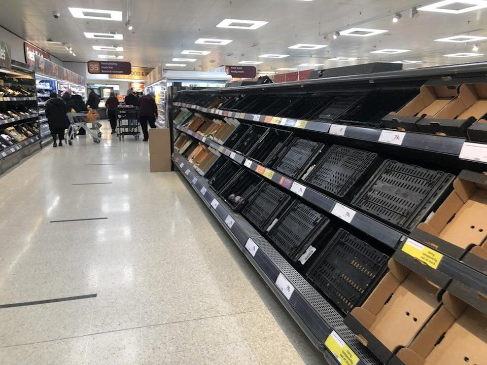Empty shelves were seen in some supermarkets in Northern Ireland in January (David Young/PA). (PA Archive)