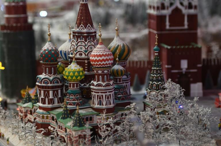 A miniature model of St. Basil's Cathedral on Red Square in Moscow, part of Gulliver's Gate, a miniature world being recreated in a 49,000-square-foot exhibit space in Times Square, is seen during a preview April 10, 2017 in New York City