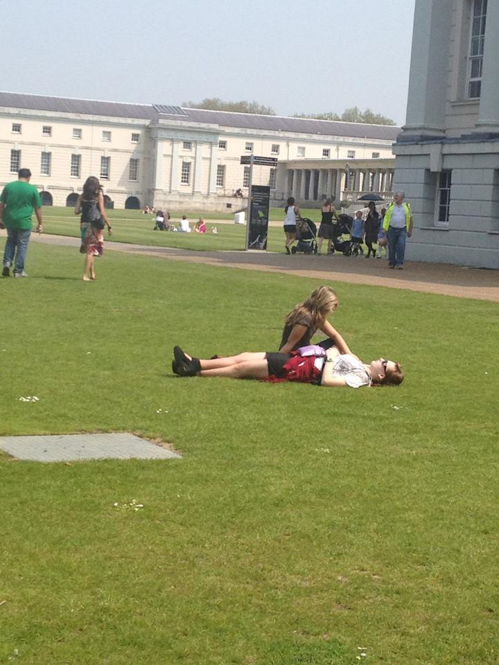 A spot of lunchtime sunbathing at the Royal Maritime Museum in Greenwich