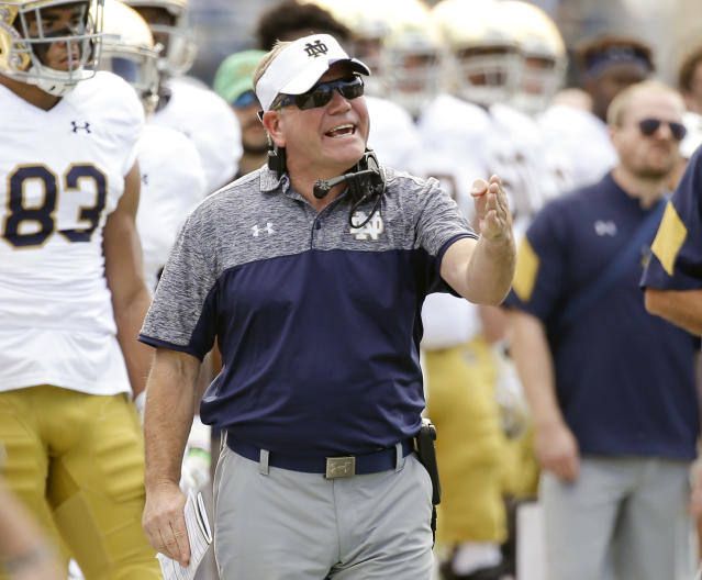 Brian Kelly overhauled his offensive coaching staff after going 4-8 last season. (AP)