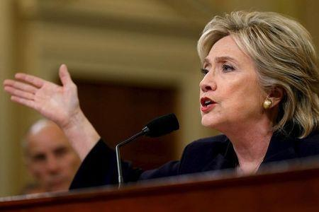 Democratic presidential candidate Hillary Clinton testifies before the House Select Committee on Benghazi, on Capitol Hill in Washington October 22, 2015. REUTERS/Jonathan Ernst