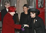 <p>Years after her husband's assassination, Yoko Ono met Queen Elizabeth at the Museum of Liverpool. For the royal occasion, Yoko wore a black suit and hat and white gloves.</p>