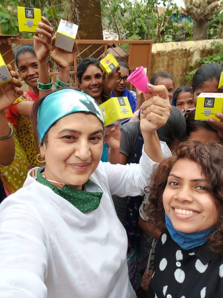 Chhitra and Surya after a menstrual cup training in a village in Maharashtra.