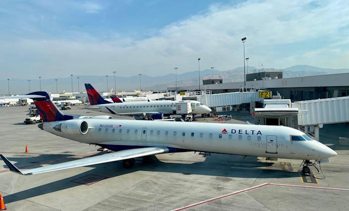 <p>The couple was arraigned for fleeing the Atlanta-bound Delta flight as it was taxiing towards the runway</p> (AFP via Getty Images)