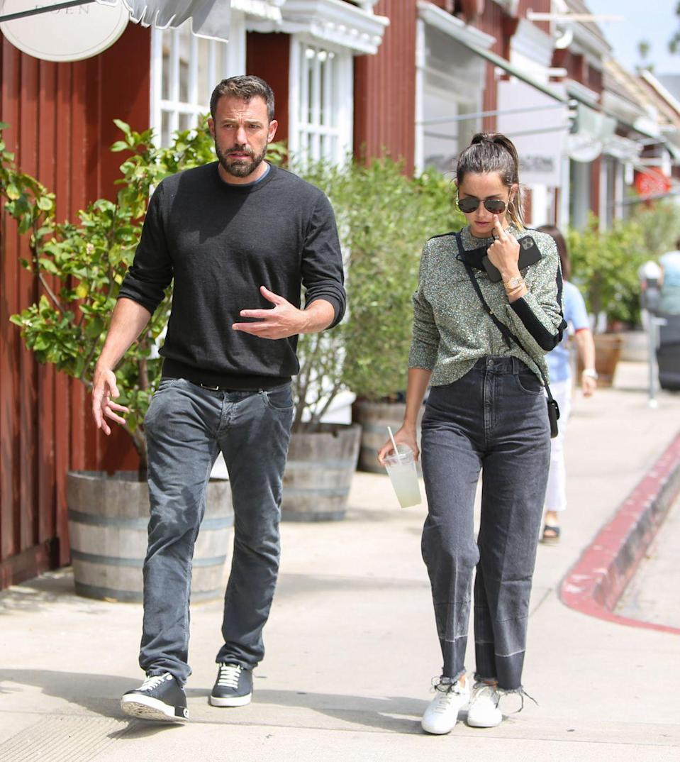 """<p>Casual stroll? Nope, so much more than that. Ana and Ben are stepping forward with the same foot, they each have one arm extended, and the other is bent. The fact that they're doing this subconsciously, says Donaldson, means they're """"highly familiar and comfortable with one another."""" Moving in unison points to a couple having similar life goals, so she's confident that what Ana wants, Ben wants and vice versa. <br></p>"""