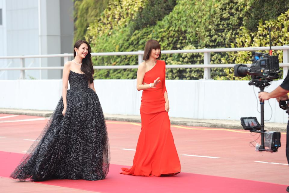 Jesseca Liu and Pan Ling Ling at Star Awards held at Changi Airport on 18 April 2021. (Photo: Mediacorp)