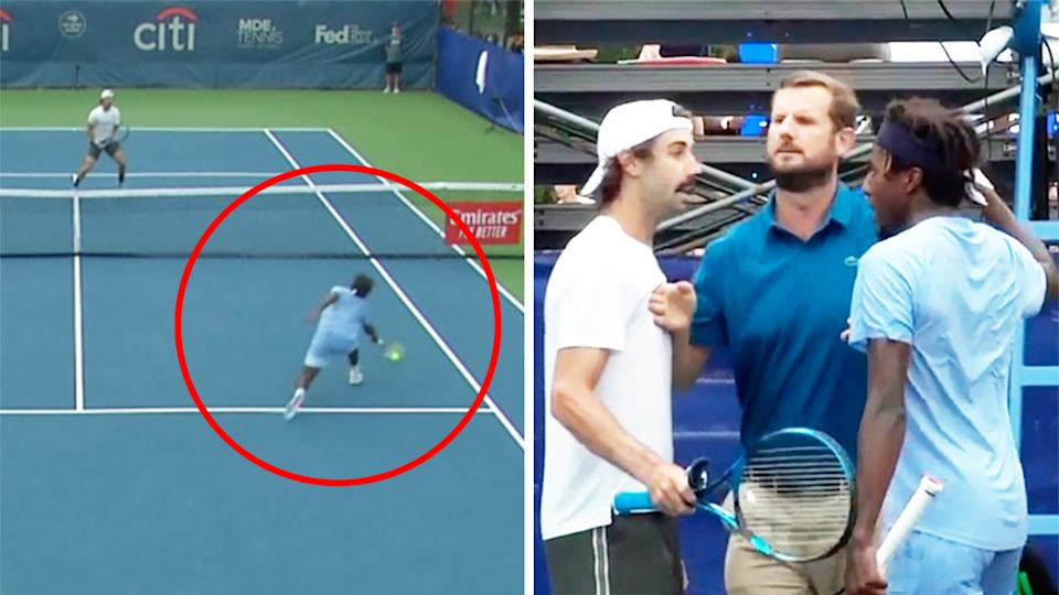 Jordan Thompson (pictured left) clashes with Elias Ymer (pictured right) over a controversial call at the Citi Open (picture right).